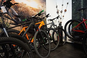 mountain bikes in a bike store