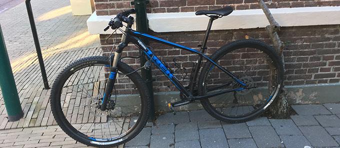 locked mountain bike
