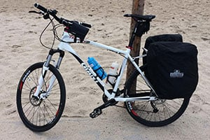 mountain bike with bags for long trips