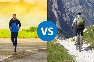 man running and a man mountain biking