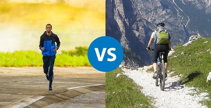 mountain biking vs running