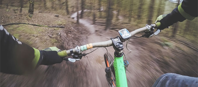 riding a mountain bike in the woods downhill