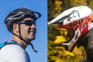 full face mountain bike helmet vs open faced helmet