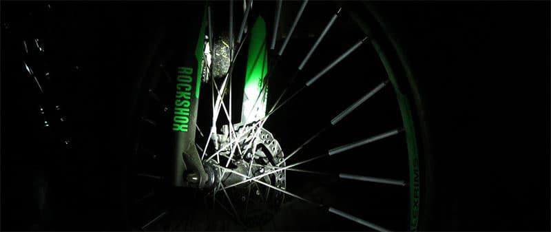 mountain bike wheel at night