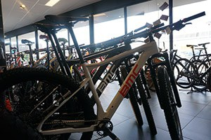 mountain bikes in a shop