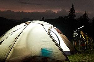 bikepacking tent at night