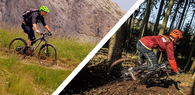 hardtail and full suspension mountain bikes on trails