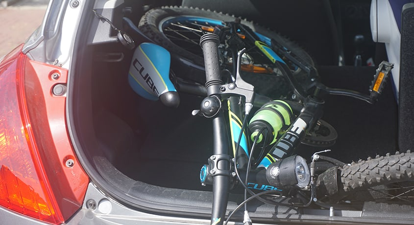 Mountain bike in a car