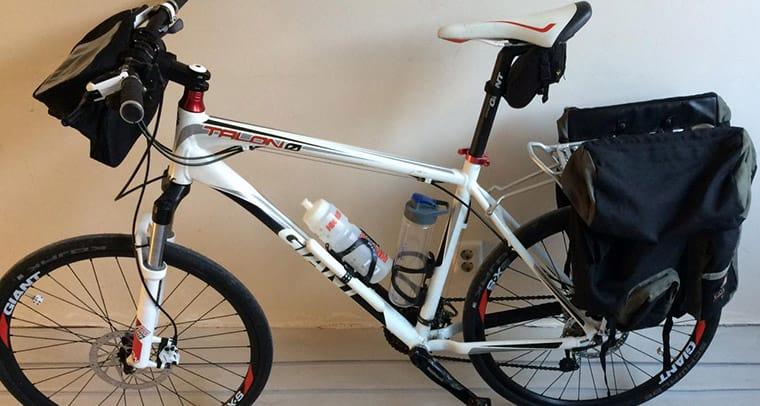 panniers on a mountain bike