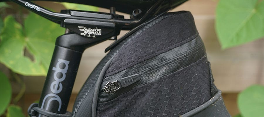 bike repair kit attached to a saddle