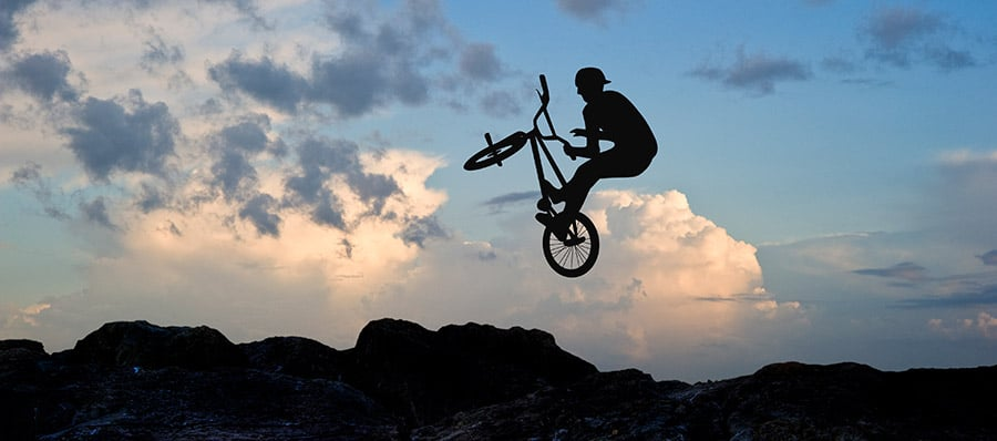 BMX rider performing a trick