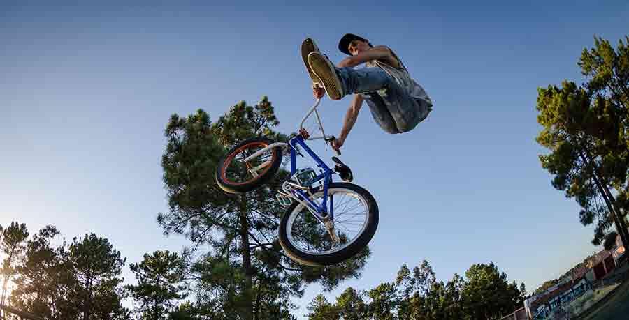 BMX biker performing a stunt