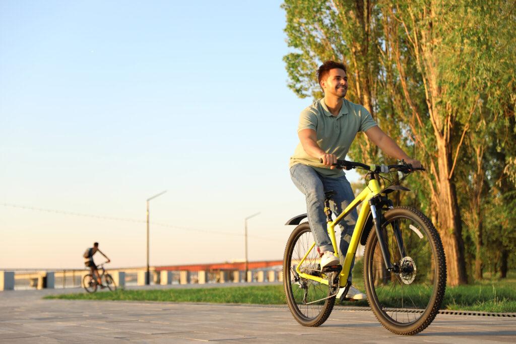 someone riding a bike outside